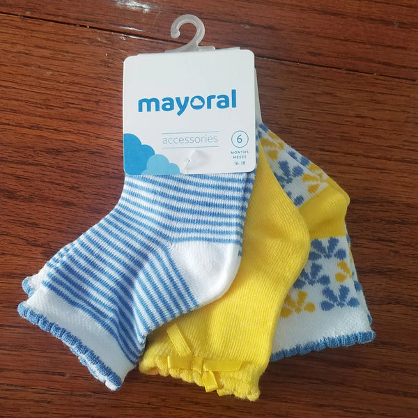 Mayoral 3 pack girls blue/yellow socks