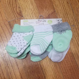 Mary Jane and Buster 6pk mint and gray socks