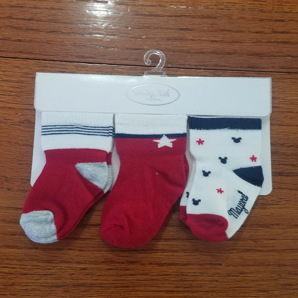 Mayoral 3pk red and navy boys socks