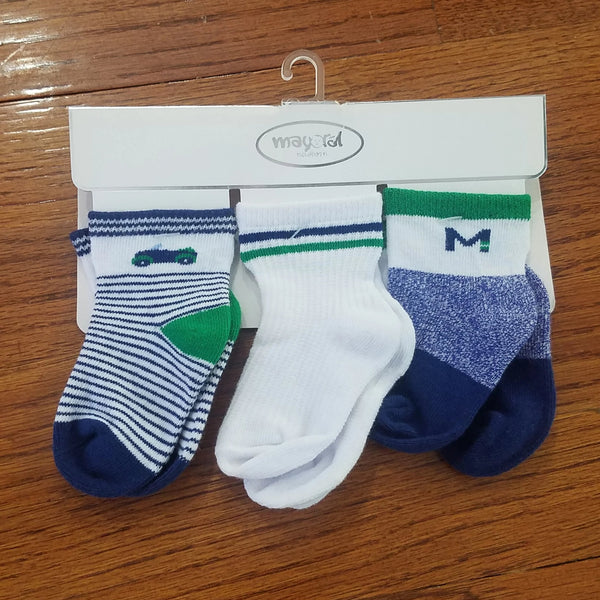 Mayoral 3pk navy/green socks