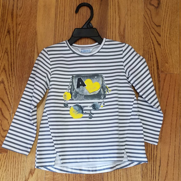 Mayoral Gray Stripe Purse shirt