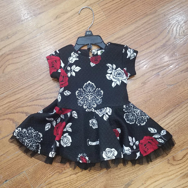 Petit Lem Baby Black/red Floral Dress