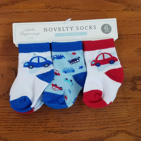 Little Beginnings 6pack boys car Socks