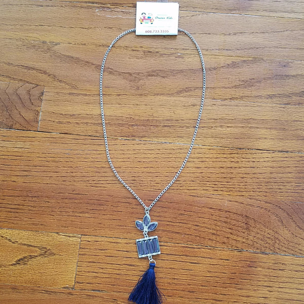 Navy Tassle Necklace