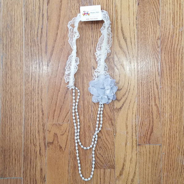 ML Kids Gray Flower/Lace Necklace