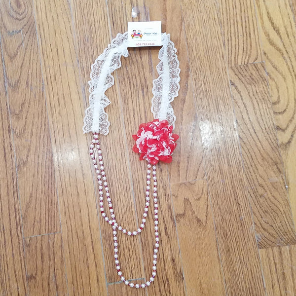 ML Kids Red Flower/Lace Necklace