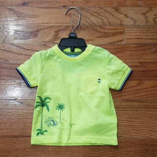 Mayoral Neon Yellow Palm Tree Pocket Tee