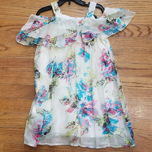 Isobella and Chloe Bright Floral Open Shoulder Dress
