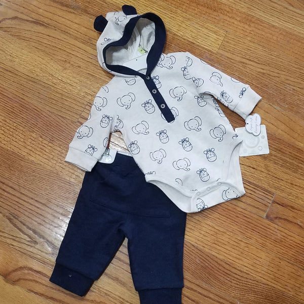 Little Me Navy Elephant 2pc Set