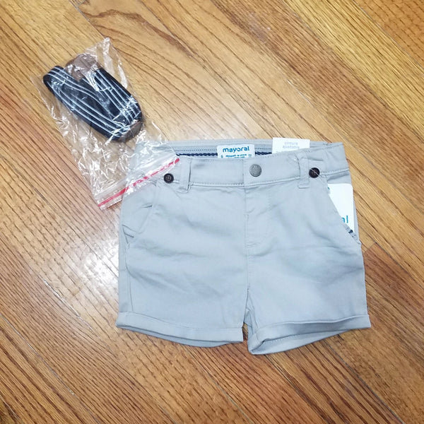 Mayoral Gray Dress Shorts with Suspenders