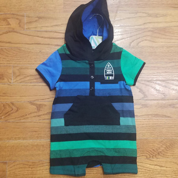 Noruk Boys Green Striped Romper