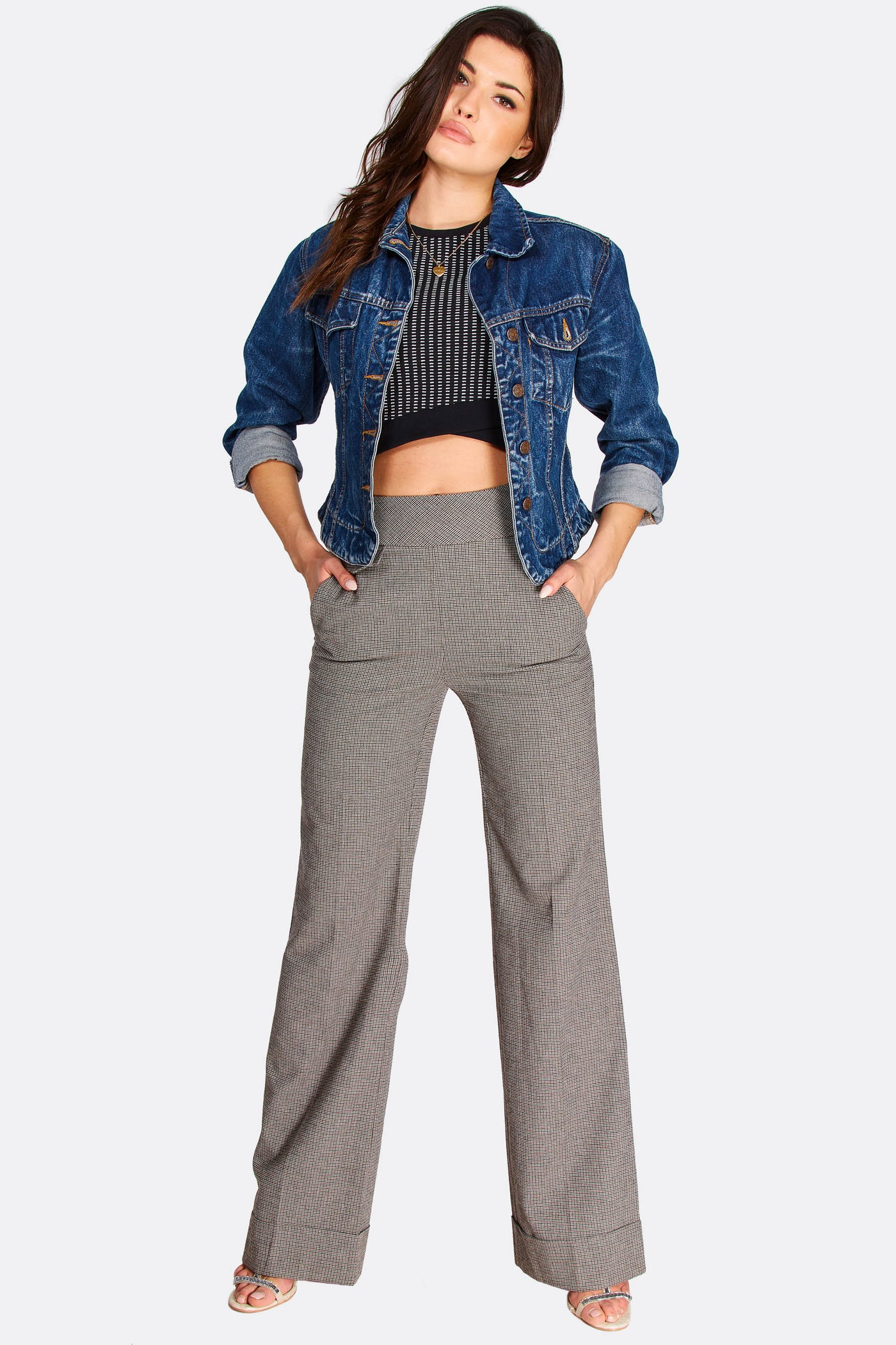 Grey Checkered High Waisted Trousers