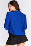 Blue Padded Shoulder Cropped Blazer