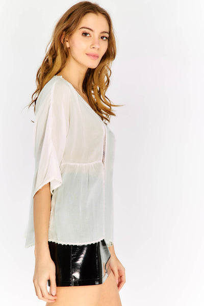 Wide Ladder Detail Blouse