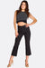 Black Textured Cropped Trousers