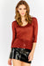 Red Sheer Round Neck Top