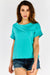 Turquoise Roll Sleeve T-Shirt