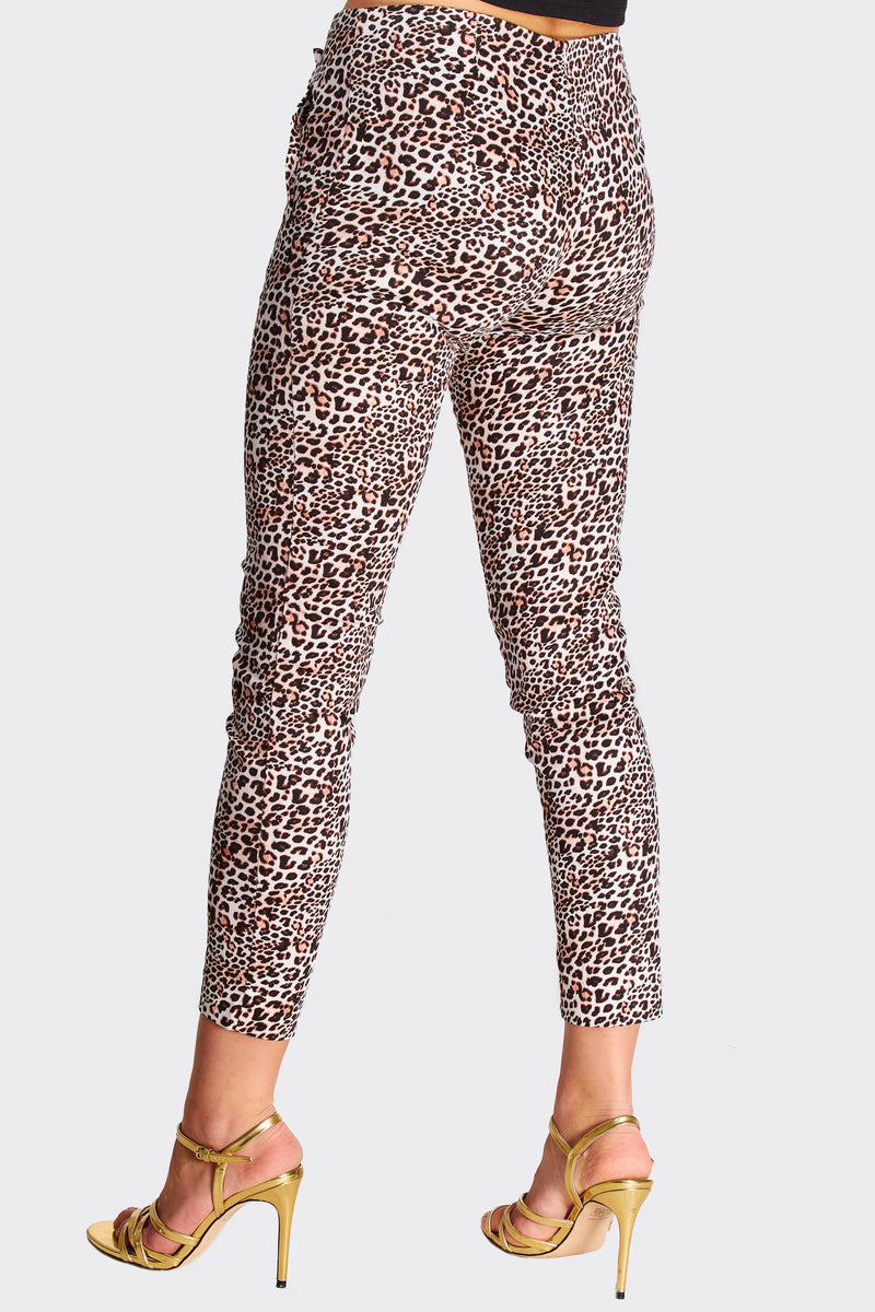 Brown Animal Print Skinny Trousers