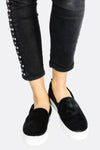 Black Fluffy Slip On Shoes
