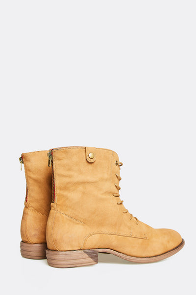 Beige Ankle Boots With Laces
