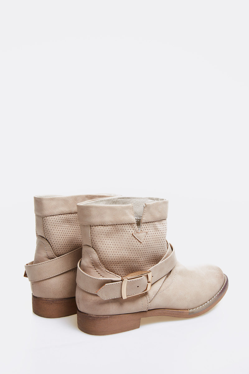 Beige Faux Leather Ankle Boots