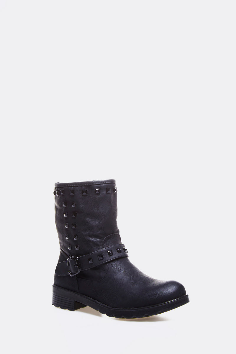 Black Faux Leather Short Boots