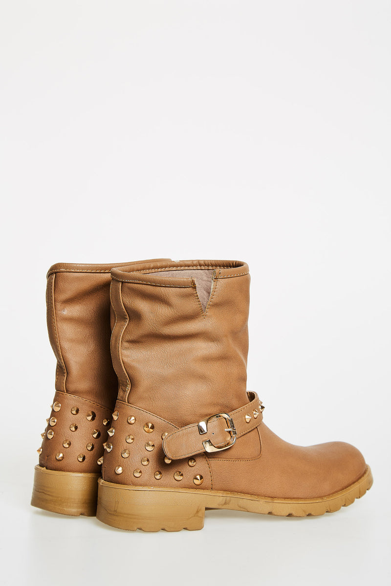 Beige Short Boots With Buckle