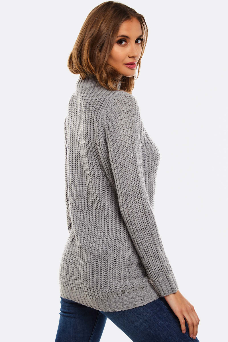 Grey Jumper With High Neck