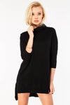 Black Longline Polo Neck Jumper