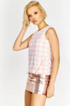 Pink Houndstooth Sleeveless Top