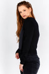 Jumper with print on woven front panel and knitted sleeves and back