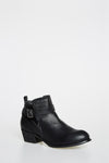 Black Faux Leather Ankle Boots