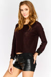Maroon Lightweight Cropped Sweatshirt