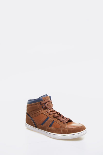 Dark Brown Faux Leather Sneakers