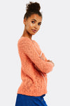 Peach Jumper With Text Print