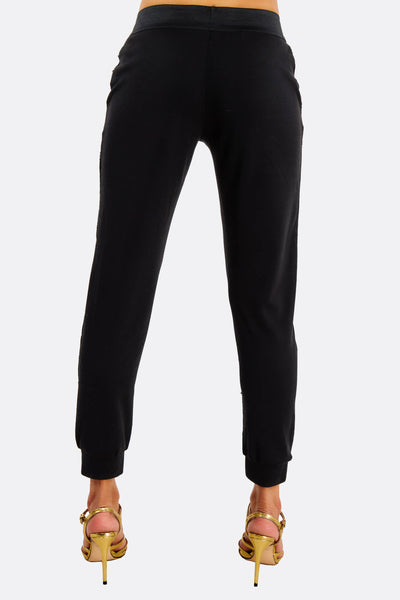 Black Sequin Relaxed Fit Trousers