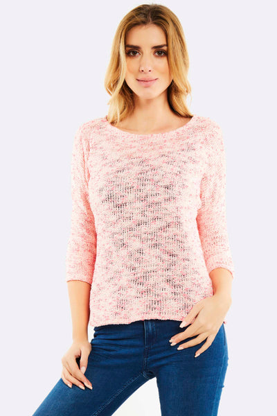 Cropped fine knit Jumper with side slits