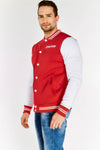 Red Contrast Sleeve Jacket