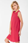 A-line sleeveless shift Dress with back zip fastening