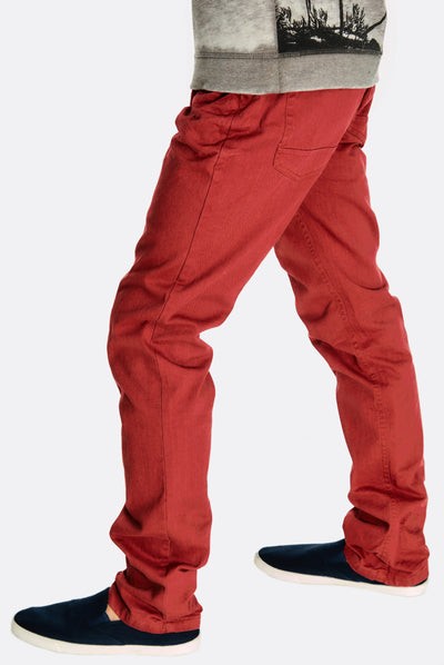 Dark Red Cotton Trousers