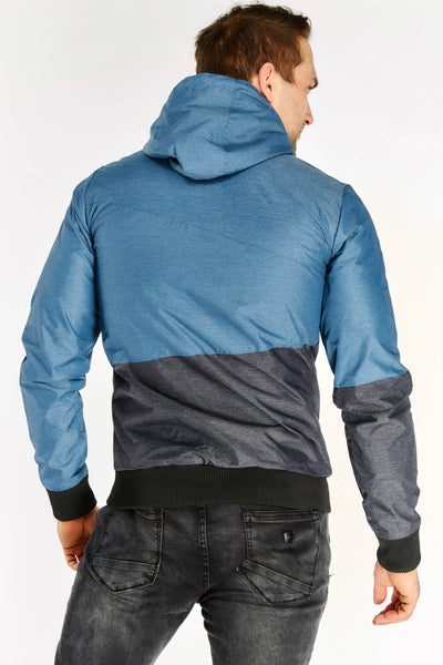 Blue Contrast Panel Hooded Coat