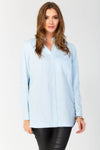 Woven cotton long sleeve long line shirt with curved hem