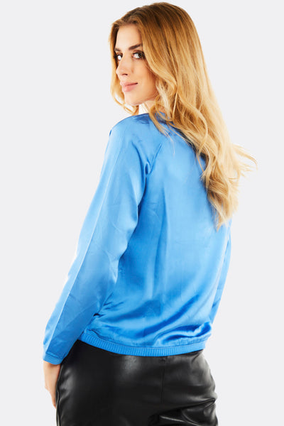 Blue Blouse With Tex Print