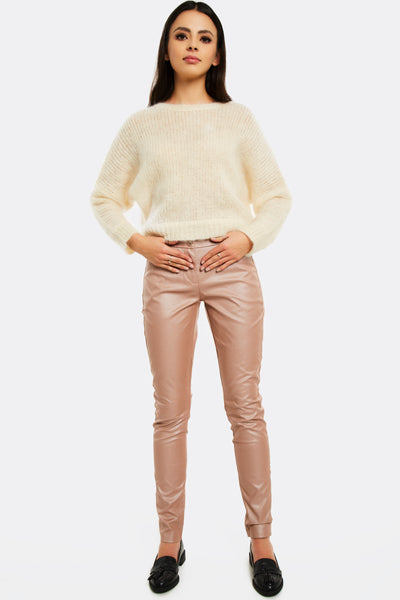 Dusty Rose Faux Leather Trousers