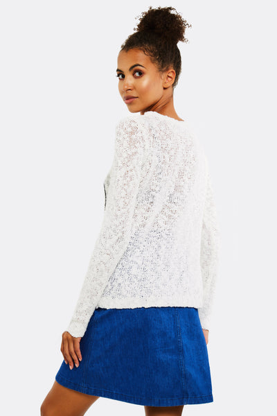 Cream Jumper With Text Print