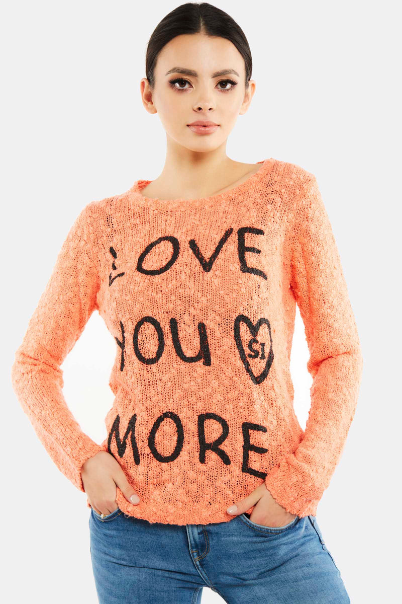 Orange Printed Jumper