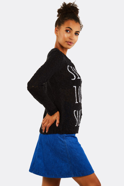 Black Jumper With Text Print