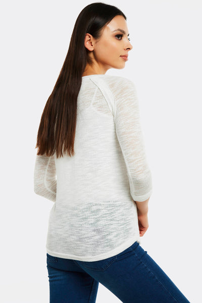 Cream Jumper With Boat Neck