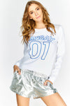 White Long Sleeved Slogan Top