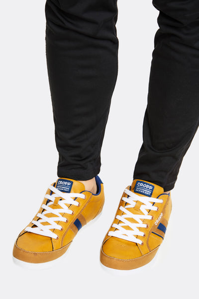 Dark Yellow Faux Leather Sneakers
